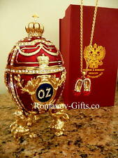 Wizard of Oz  Faberge Music Box Egg with inner Ruby Slippers Necklace