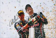 Mark Webber SIGNED Autograph Red Bull 12x8 Photo AFTAL COA Celebrates PODIUM