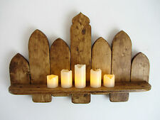 64CM RECLAIMED PALLET WOOD SHELF MOROCCAN ARCH SHELF ANTIQUE BROWN BEESWAX