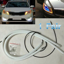 1 Pair Flexible 30cm Amber LED Light Strip Car Soft Tube Guide DRL Daylight Lamp