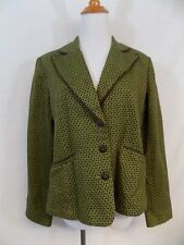 Worthington Blazer Jacket Green & Brown Tweed Acrylic 3 Buttons Womens 12