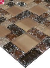 Mosaico De Cristal Azulejos Marrón Beige Con Efecto Roto Aspecto 15x15 Nuevo