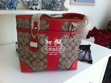 Authentic Coach Red/Beige Tote Bag