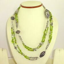 NATURAL PERIDOT GEMSTONE LONG FINE ANTIQUE NECKLACE 91 GRAMS