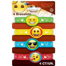 EMOJI RUBBER BRACELETS (4) ~ Birthday Party Supplies Wristbands Favors Silicone
