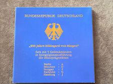 """5 x 10 DM Gedenkmünzen-Set  """" 900 Jahre HILDEGARD VON BINGEN  """" PP Proof"""