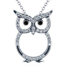 Retro 925 Sterling Silver Owl Bird Charm Pendant Necklace Animal with white CZ