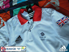 ADIDAS TEAM GB ISSUE - TRAINING FOR RIO OLYMPICS 2016 - ATHLETE WHITE POLO SHIRT