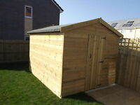 Wooden Sheds, 10X8, 12X8, 14X8 Pressure Treated Garden Shed T&G Throughout.