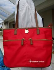 MICHAEL KORS RED NYLON & LEATHER SHOPPER TOTE BAG PURSE CARRY ALL