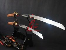 battle ready folded steel blade clay tempered katana/wakizashi sword sharpened