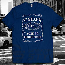 VINTAGE 1957 AGED TO PERFECTION T-shirt 60th BIRTHDAY Present Gift 60 years old