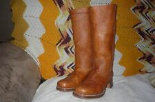 Womens 9 M Frye Campus 14L Saddle Leather Stacked Heel Chunky Toe Boots 77050