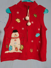 WOMENS UGLY CHRISTMAS SWEATER VEST PETITE MEDIUM SNOWMAN