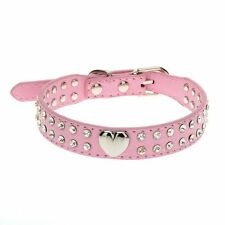 US 2 Rows Rhinestone Bling Heart Studded Leather Dog Pet Collar (Small Pink )