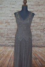 Modcloth Deco Decadence Dress NWTD Sz 2 fits sz 4 Beaded Gatsby Gown Gray