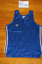 True Vintage Adidas Tank Top Trefoil Logo 70's 80's Shiny T Shirt Royal Blue