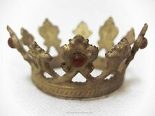 "Petite Santos Crown, Gold with Red Rhinestones, Tiny Crown  at 1 -1/8"" Across"