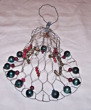 UNUSUAL VICTORIAN WIRE CHRISTAS BELL, GLASS ORNAMENT EMBELLISHMENT, c1900