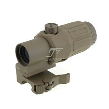 JJ Airsoft 3X Magnifier with Switch to Side STS Quick Detachable/QD Mount (Tan)
