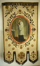 Grande bannière religieuse, fil d'or Great religious banner painted gold thread