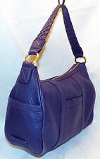 Cole Haan Village II Large Shoulder Bag Aubergine Pebble Leather Purple Tote