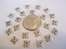 100 BRIGHT SILVER PLATED 6X6X2mm TIBETAN STYLE FLOWER BEAD CAPS BRACELET