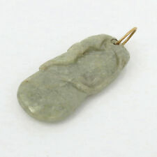 Antique Natural Untreated Whitish Green Jade Carved 14K Gold Pendant