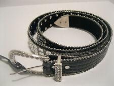 Belt XL 1XL Rhinestone Cluster Black Faux Leather Rhinestone Buckle NWT L1080