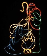holy family nativity scene outdoor christmas lighted display rope lights jesus