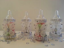 12 White Fillable Butterfly Bottles Baby Shower Favors Prizes Girl Decorations