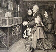 GRAVURE Jean Eugène BULAND Prière devant les reliques 24,5 x 26,5 cm DUBOUCHET