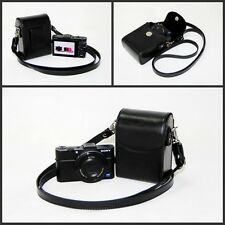Black leather camera case bag pouch for Sony HX90V HX90 WX500 RX100IV / RX100III