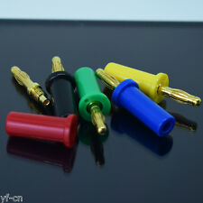 1set 5 colors Gold Plated Copper 4mm Banana Plug Cable Speaker Solder Connector