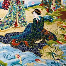 A Robert Kaufman Asian Print, Gorgeous Geisha Panels Cotton Fabric Per Panel