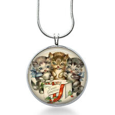 Christmas Kittens Necklace - Animal Jewelry - Christmas Pendant- Cat Necklace