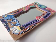 Under The Sea Tropical Fish Carving Wood Frame Wall Mirror Multi Color Kids Room