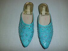 Women's Casual Dress Sequin Beaded Slip On Mule Sandals Shoes Sz 7 1/2 Blue New