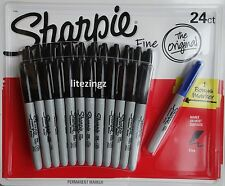NEW 24 Black + 1 Blue Sharpie Fine Point Waterproof Permanent Marker Pens