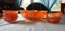 DUGAN MARIGOLD CARNIVAL GLASS WREATHED CHERRY MASTER & SMALL BERRY BOWL SET 6 PC
