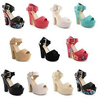 Womens Ladies Ankle Strap Platform Chunky High Heel Sandals Peep Toe Shoes 3-8