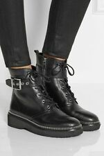 MICHAEL KORS Black VIVIA  COMBAT Ankle  Leather Buckle Boots Booties 9