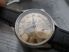 ANTIQUE SILVER DIAL HAND ENGRAVED IN 1800s SWISS MADE ETA UNITAS 6498 MOVEMENT
