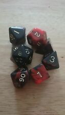 Dice & Games Oblivion 7 x Polyhedral Poly Dice Set Red with Black  D&D RPG