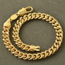 Fashion Jewelry Classic vintage Yellow Gold Plated Womens Mens Chain Bracelet