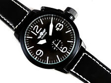 AVIATOR's Pilot's Black 46mm Canteen Automatic Steel Boat Style Wrist Watch TW U