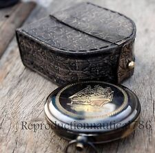Antique Solid Brass Working Compass Leather Case Vintage Navigation Compass Gift
