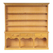 DOLLHOUSE MINIATURE Wooden Victorian Welsh Dresser Kitchen Display Cabinet - Oak
