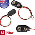 1 x 9V Battery Snap-on Connector Clip with Wire Holder Cable Leads Cord D056