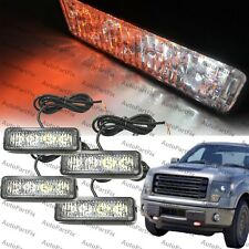 4x 4 LED 4W Emergency Security Grill Marker Flash Strobe Light White Amber